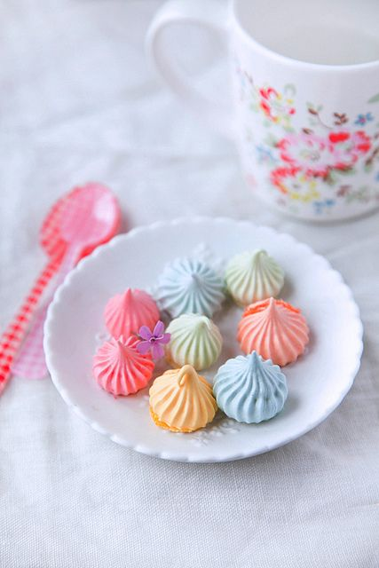 A delightful assortment of crunchy and pretty pastel-colored meringues!