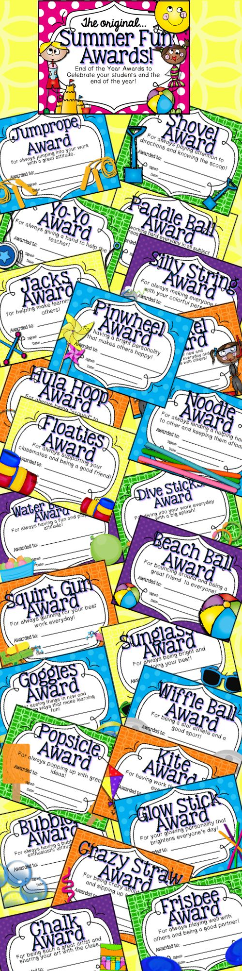 Summer Fun Awards for any classroom! Celebrate your students AND the end of the year! Look great in color or black and white! $