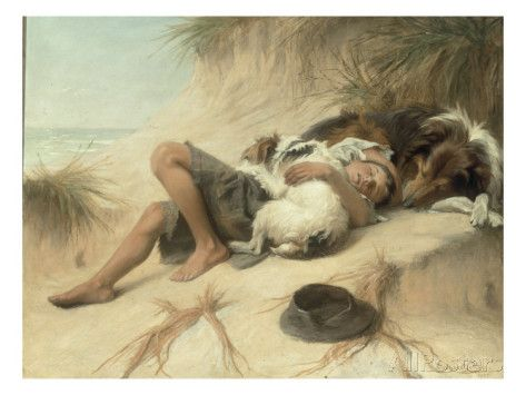 A Child Sleeping in the Sand Dunes with a Collie, 1905 Giclee Print by Margaret Collyer - at AllPosters.com.au