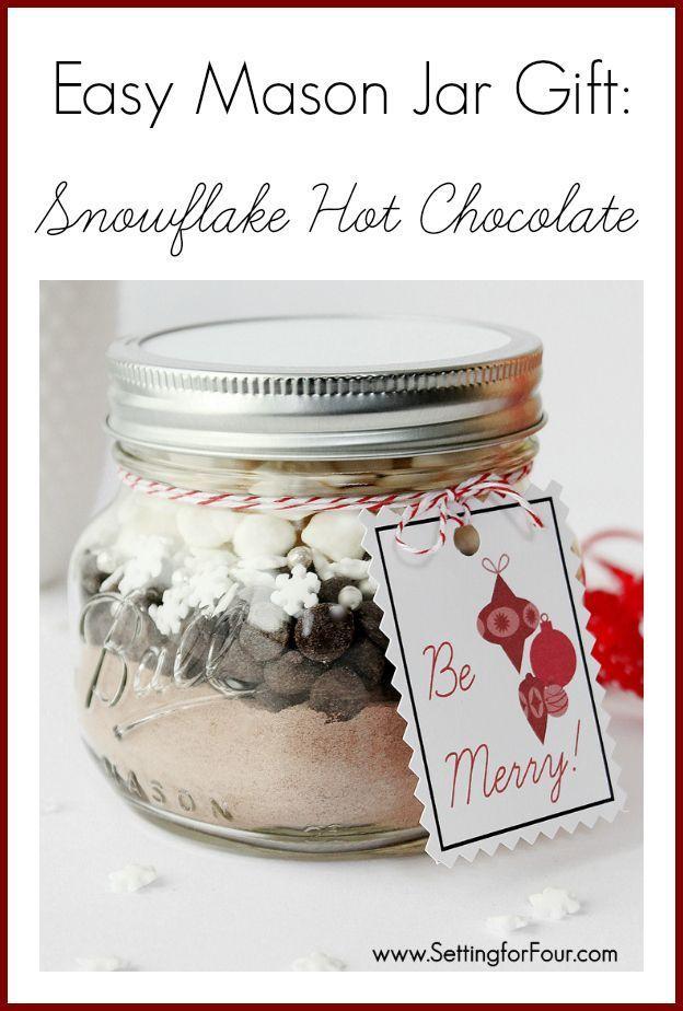 Easy DIY Jar Craft - Christmas Mason Jar Gift Idea filled with Snowflake Hot Chocolate! | www.settingforfour.com