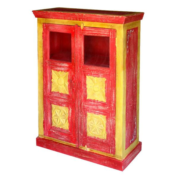 Tropical Red Glass Front Cabinet  http://www.theimporter.co.nz/collections/new