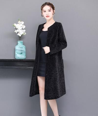 7fb2a2ea7b6 Nerazzurri Real fur coat women 2018 winter raglan sleeve long warm  shearling sheep fur jacket plus size lamb outwear 5xl 6xl 7xl