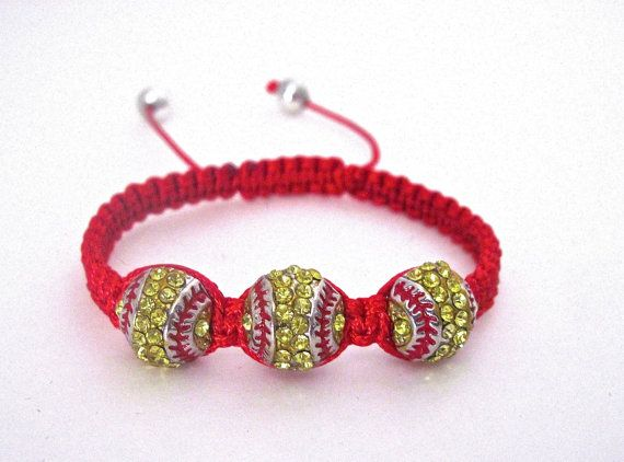 Softball Bracelet. by Themejewelryandacces on Etsy