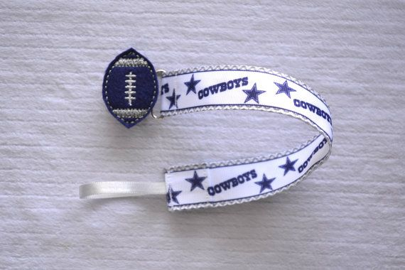 Dallas Cowboys Football Universal Pacifier Clip With Navy and Grey Football Feltie for Baby Girl or Baby Boy