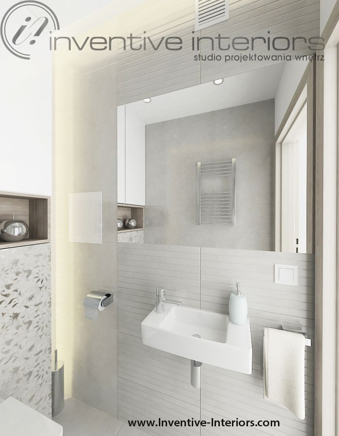 Projekt mieszkania Inventive Interiors - jasne wc - oświetlenie w łazience