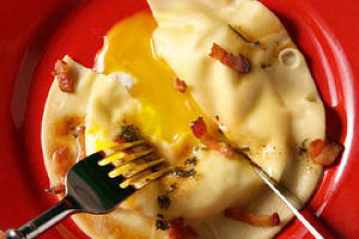Egg Yolk Ravioli (Uova da Raviolo) with Bacon-Sage Sauce Ingredients 1 ...