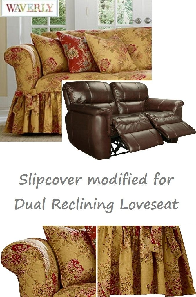 Dual Reclining LOVESEAT Slipcover Waverly Ballad Bouquet Tea Stain Adapted for Recliner Love Seat