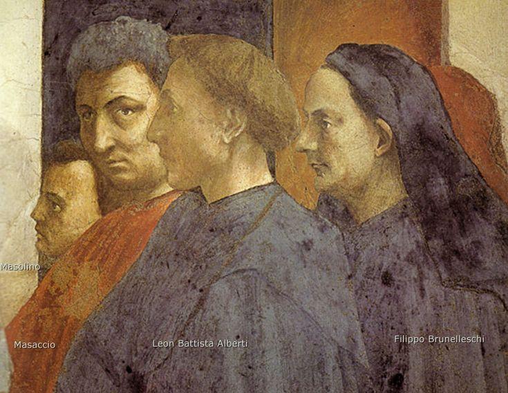 Brancacci Chapel - Florence. Мазаччо - Автопортрет с Мазолино, Брунеллески и Леоном Баттиста Альберти.