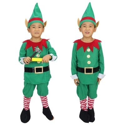 2014 New Winter Green Elf Boy Christmas Santa Claus Cosplay Costumes For Children
