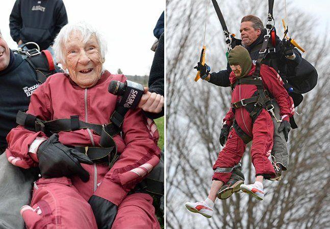 Se você já ficaria feliz em completar 100 anos, imagine poder comemorar o feito pulando de paraquedas? Foi o que fez a nova-iorquina Eleanor Cunningham. Para celebrar seu século de vida, ela não quis uma festinha comum com os bisnetos e a família, mas algo mais radical: esta foi a terceira vez que ela pulou de paraquedas – esporte que começou a praticar depois dos 90. Em uma roupa cor de rosa e com um sorriso no rosto, Eleanor deu um beijo em uma de suas bisnetas e se preparou para o grande…