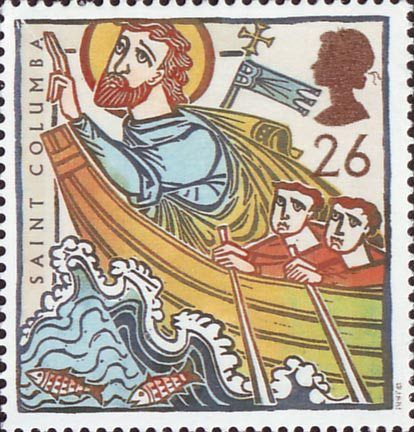 St Augustine and St Columba - Missions of Faith 26p Stamp (1997) St Columba in Boat