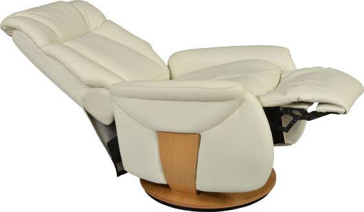 Fauteuil de relaxation avec mécanisme très souple, BJORN, il incorpore des boiseries, il est monté sur une base ronde pivotante. Ce fauteuil relax BJORN est disponible en cuir ou microfibre, il possède des coussins ergonomiques et généreux, un large appui-tête garantie un confort supplémentaire. Détendez-vous, relaxez-vous chez vous ou au bureau pour votre bien-être au quotidien !