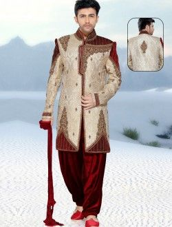 Cream Banarasi Silk Embroidered Work Special Wedding Sherwani