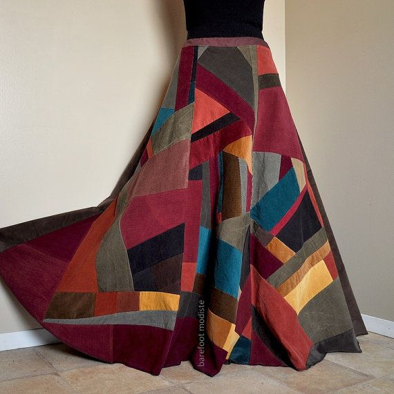 Long Corduroy Patchwork Skirt