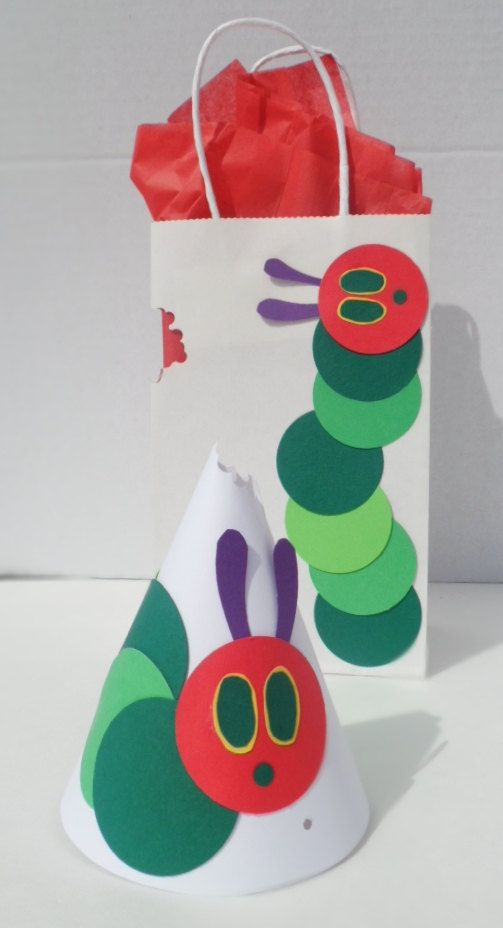 The Very Hungry Caterpillar Party Hats and Favor Bags by PAPALOTES, $9.99 #veryhungrycaterpillar #PenguinKids