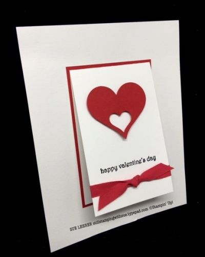 handmade valentines day card using teeny tiny wishes stamp set from stampin up - Stampin Up Valentine Card Ideas