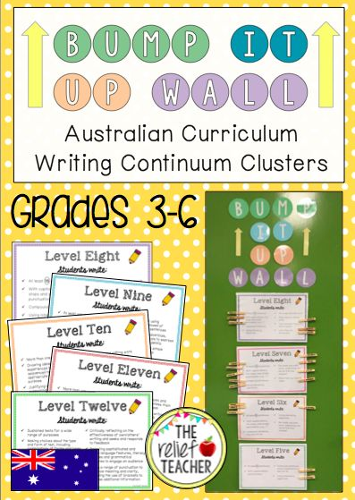 *Bump it Up Wall* Aligned with Australian Curriculum Writing Continuum Clusters - By the end of Stage Three students are expected to progress to the level 12 cluster on the K-10 Literacy Continuum. In order to track and encourage this growth in writing throughout Stage Two & Three, use this interactive 'Bump it Up Wall' display.