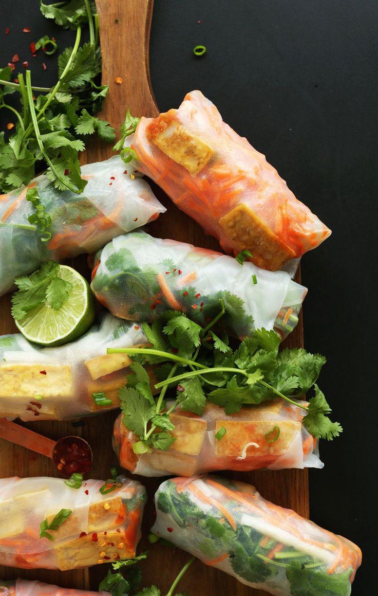 BAHN MI Spring Rolls in just 10 ingredients! So HEALTHY, fresh and satisfying #vegan #glutenfree