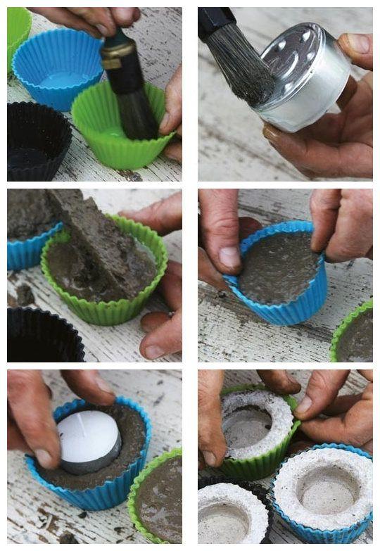 So könnt ihr euch Teelichthalter für den Garten basteln. Ganz einfach mit Muffinförmchen und Zement.
