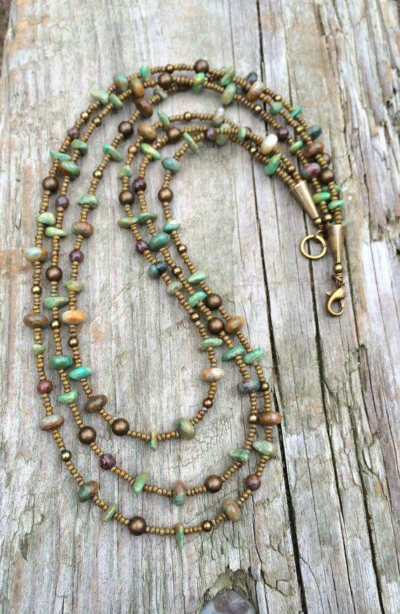 Turquoise Necklace, Brass Turquoise Boho Multi Strand Necklace