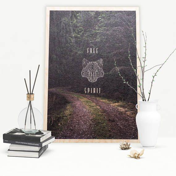 Wolf Forest Poster on Wood Polygonal Wolf Uv print UV Print