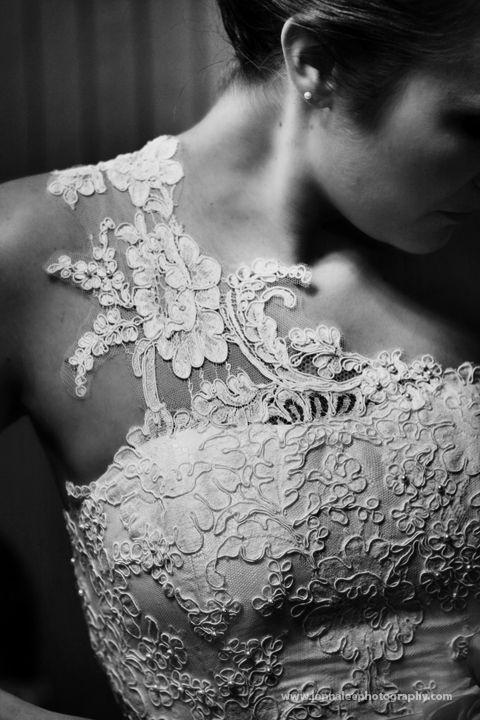 One shoulder. Lace wedding dress.