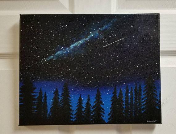 NIGHT SKY PAINTING 5 Glow in the Dark Art Original Scenic