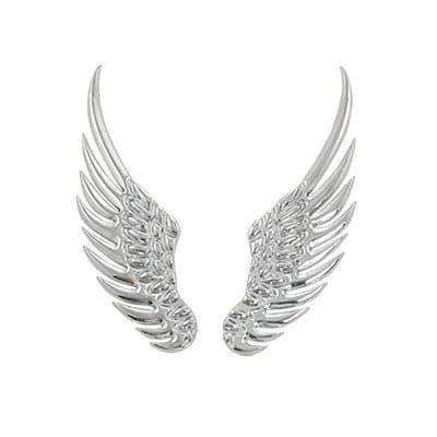 Unique Bargains 2 Pcs Silver Tone Alloy Angel Wings Emblem Stickers for Car