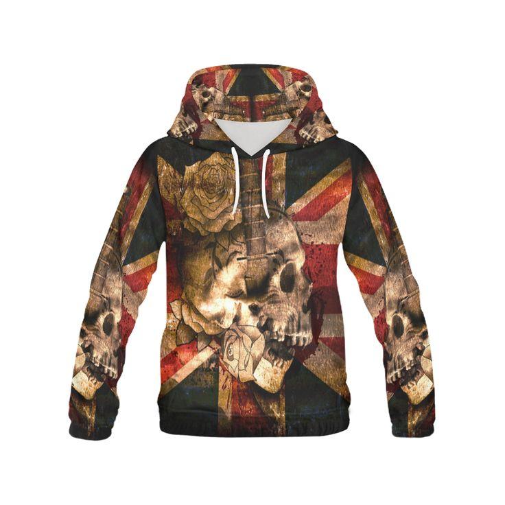 Grunge Skull and British Flag Men All Over Print Hoodie #hoodie #erikakaisersotdesign @artsadd