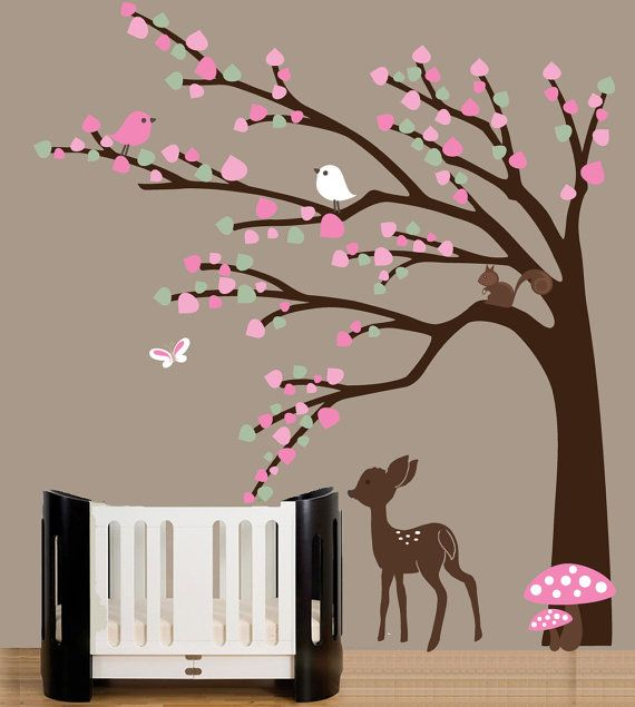 Baby nursery forest wall art decal with baby deer. See deer can work for girls too. ;)