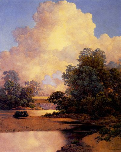"""Maxfield Parrish, """"Thunderheads""""  I have lived this photo in my own hometown... Redding, CA has some magical lights that fill the skies from time to time!"""