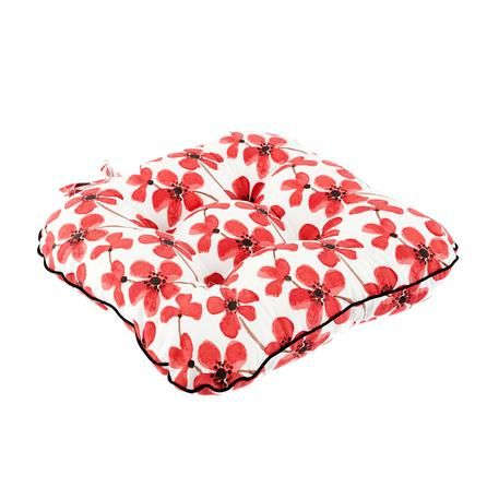 Dunelm Red Painted Poppy Collection Seat Pad Red