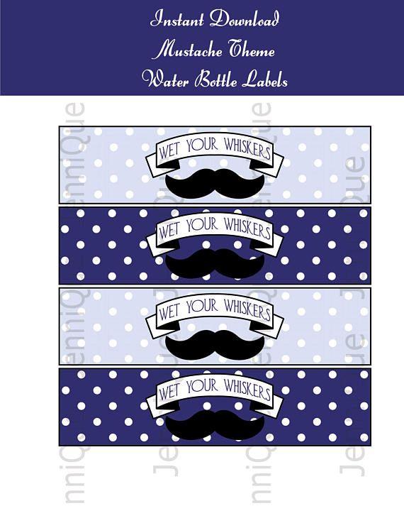 Printable Mustache Theme Water Bottle Labels Mustache Bash