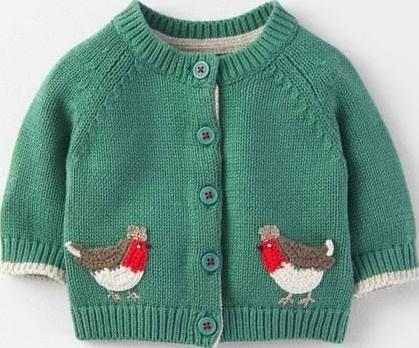 Robin Christmas Cardigan Green Baby Boden