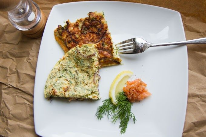 Smoked Salmon, Dill, and Red Onion Omelette