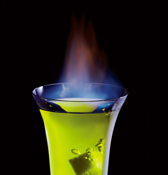 Flaming drink! Pear purée, energy drink and lemongrass-infused vodka topped with an absinthe-soaked sugar cube and set on fire.