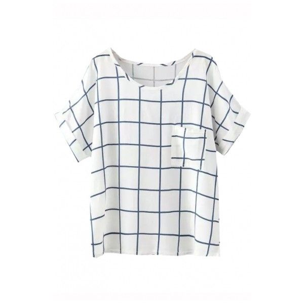 Blue Plaid Short Batwing Pocket Front T-Shirt ($11) ❤ liked on Polyvore featuring tops, t-shirts, blue t shirt, plaid t shirt, pocket tees, plaid top and white pocket t shirts