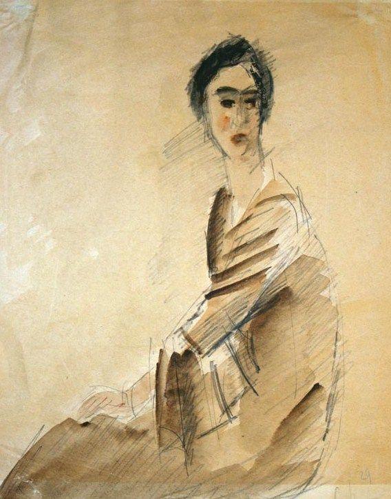 1929 Robert Falk (Russian painter, 1886-1958) Portrait of Naryshkina, Paris 1929