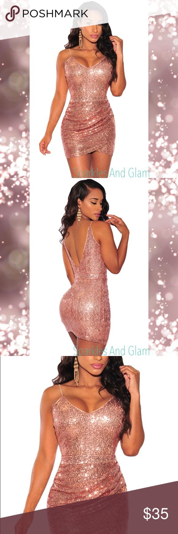 Rose Gold Sexy Sequin Ruched Dress Elegant looks for the season are here to stay with this sequins beauty! This mini dress features all over sequins embellishment, adjustable straps and V neckline highlighting those sexy collarbones , the ruched side is cute addition, and has open V shaped back and center back zipper.  You will be sparkling and have the chic style of a Queen with this dress! Perfect for New Years Eve!  Size Medium fits 6-10  I am 5'9'' 34DD athletic build and it fits like a…