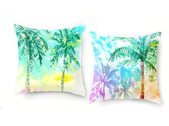 """Tropical beach decor in pastel colors! Feel the warm breeze through the palm trees, and the sand in your toes!  Choose from super soft velveteen or hardy canvas (Canvas pillowcase are great as outdoor pillows, made from 100% polyester upholstery canvas!) WHAT YOULL RECEIVE: --------->TWO pillowcases with printed design - (No pillow form included) ---------> 18x18"""" or 22x22 pillow form (please choose from drop-down menu) --------->Easy to clean! Zipper to remove pillowcase. ---------&..."""