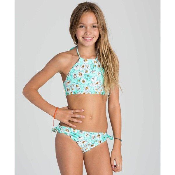 Billabong Unisex Fancy Floral High Neck Swimwear Set ($55) ❤ liked on Polyvore featuring swimwear, bikinis, 2 pcs swim, honey do, high neck halter top bikini, high neck bikini, billabong bikini, tie bikini bottom and floral print bikini