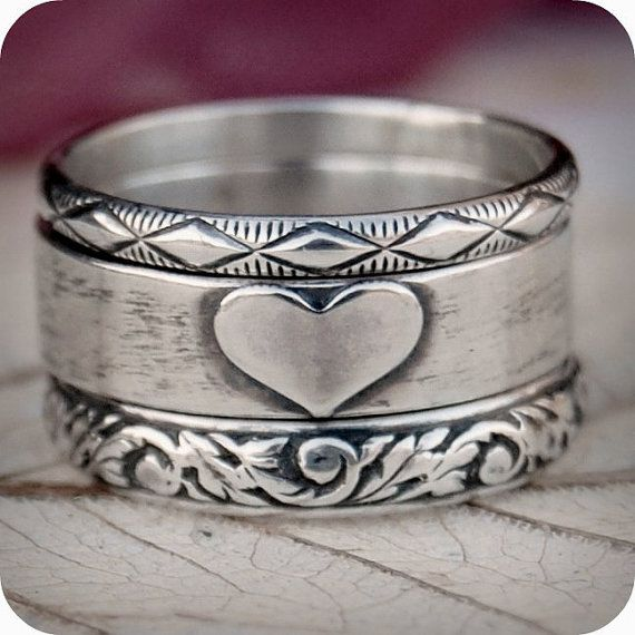 Love - Sterling Silver Ring Stack - Hand Forged - Custom Size