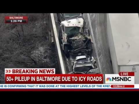 MSNBC LIVE 12/17/16 50+ pileup in Baltimore due to icy roads