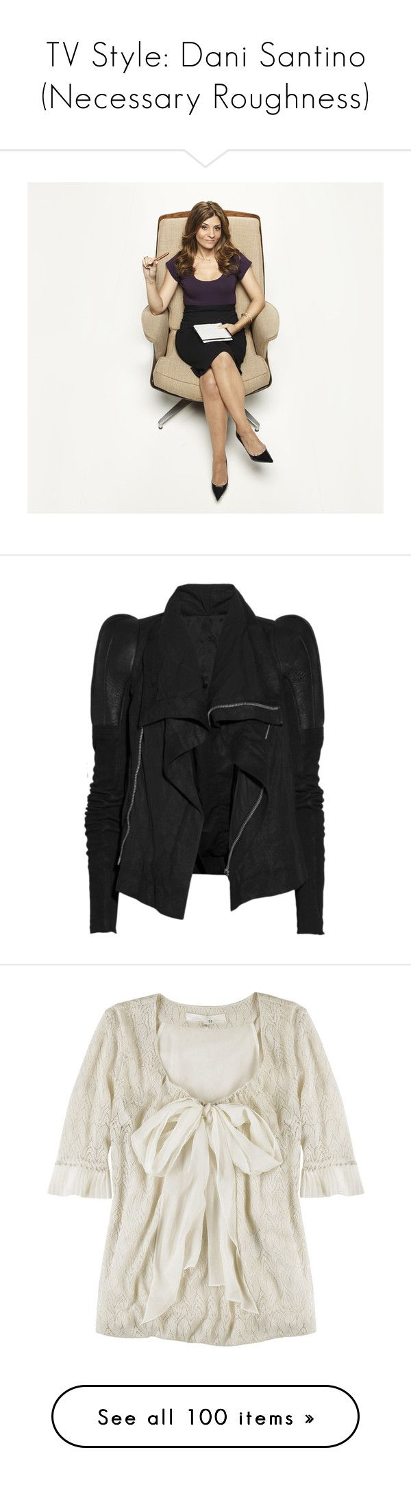 """TV Style: Dani Santino (Necessary Roughness)"" by sinetimore ❤ liked on Polyvore featuring usa network, outerwear, jackets, coats, tops, rick owens jacket, drape jacket, collar jacket, drapey jacket and zipper jacket"