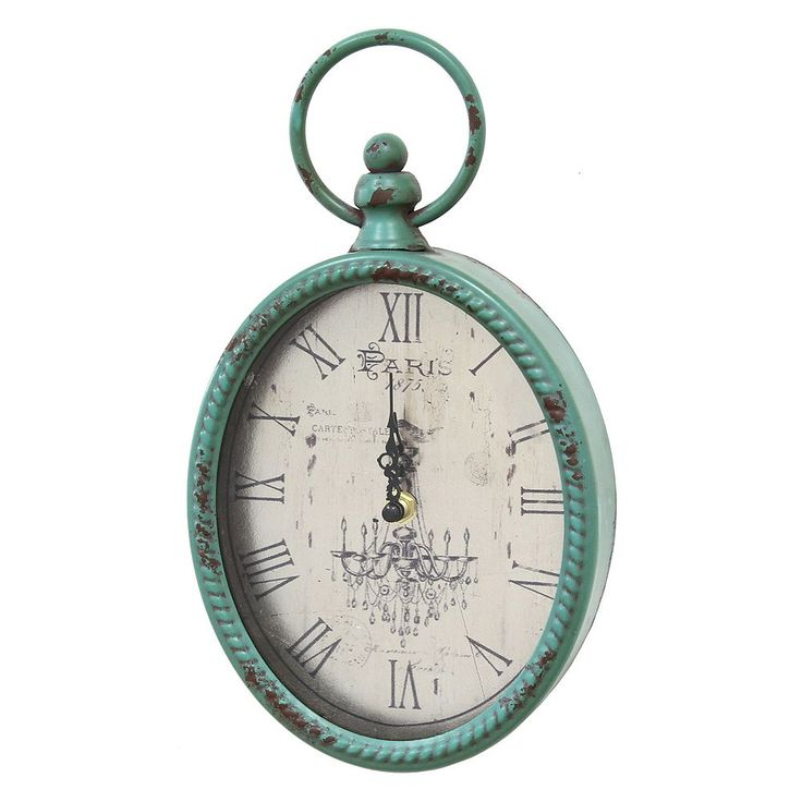Stratton Home Decor Distressed Vintage Wall Clock, Blue