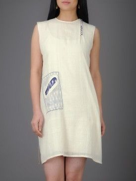 Ivory Khadi Cotton Dress with Ikat Pocket