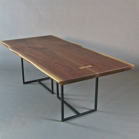 custom made live edge dining table book matched walnut slabs - Stone Slab Dining Room Decorating