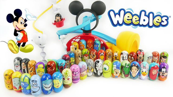 """Disney Weebles  Toys Wobble with Minnie Mickey Mouse Clubhouse Playset Princesses Finding Nemo Dory. These prescool toys are fun for learning colors and putting on slides in Disney playsets. You can count them and learn numbers and also learn colors with them. You can push them but they always stand back up!  Mickey Mouse in other languages: """"La Casa de Mickey Mouse"""" """"Clubul lui Mickey Mouse"""" """"La Maison de Mickey"""" y """"Micky Maus Wunderhaus"""" """"La casa di Topolino"""" """"L'allegra casa di Topolino"""" y…"""