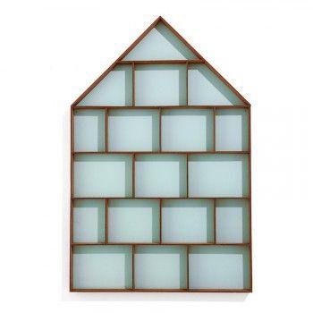 Kinderzimmer Wandregal und Setzkasten, Haus, türkis, Holz, 35 x 5 x 75 cm, von Ferm Living