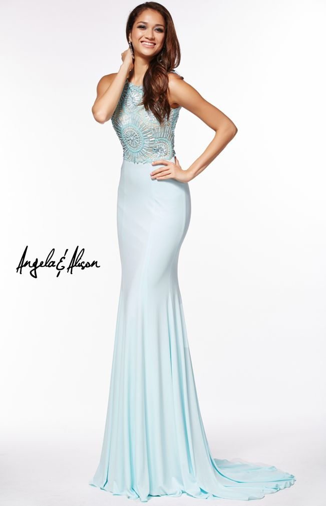 Style 51086 high neckline with detailed beading and jersey bottom. Sophisticated and stunning, perfect for homecoming, prom, pageants or any formal event